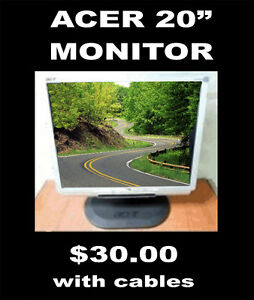 "Acer 20"" LCD Monitor with Cables -$30"