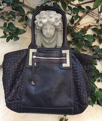 Francesco Biasia Woven Intrecciato Leather Shopper Tote Bag Purse Silver ~ Lined