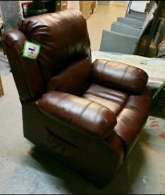 A new stylish jumbo burgundy leather faced full rise and recline chair