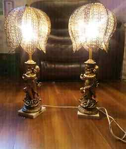 Pair of Cherub Lamps - Made in Italy