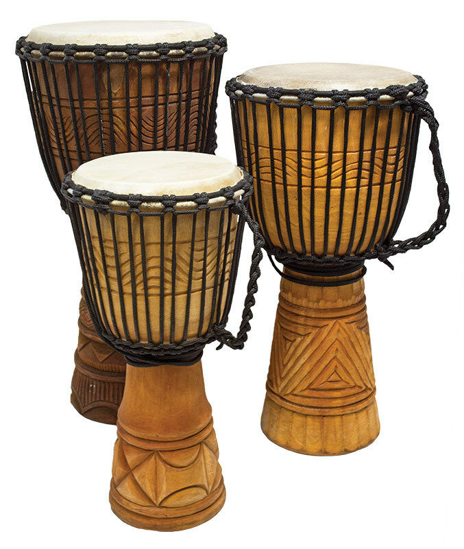 "Djembe Afrika, 20"" tall,  9-9,5"" head,"