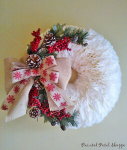 SALE--Christmas Coffee Filter Wreath/ Rustic Holiday Wreath