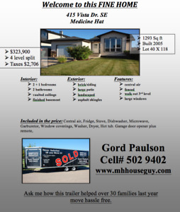 415 Vista Dr SE Medicine Hat Call Gord to view 403 502 9402