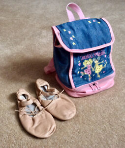 Ballet dancing leather shoes for 4-5 y.o.old girl and a backpack