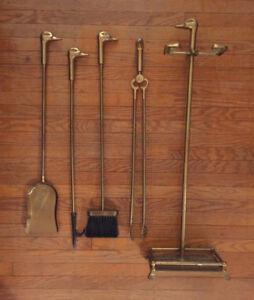 Brass Duck Head 5pc Fireplace Tool Set