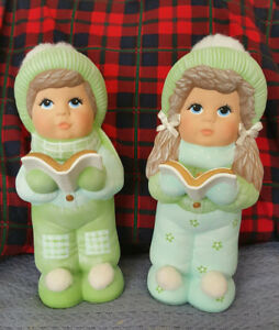 CHRISTMAS CAROLERS Table Figures - Boy & Girl - Hand Painted