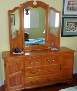 Large Shermag Oak Dresser With Mirror