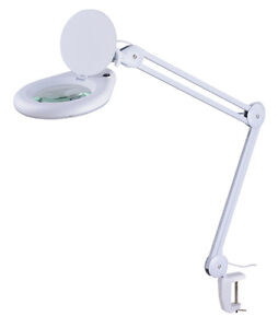 """MAGNIFIER CLAMP LAMP magnifying LED light 5"""" lens 3 Diopter work"""
