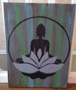 Zen hand painted on 18 x 24 x 2 canvas