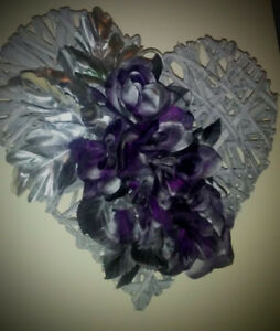 Metallic foral wall heart