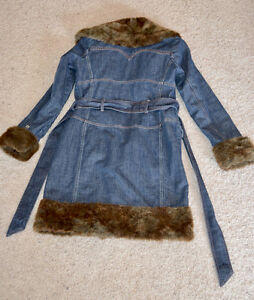 Ladies Denim Coat with Faux Fur Trim Edmonton Edmonton Area image 2