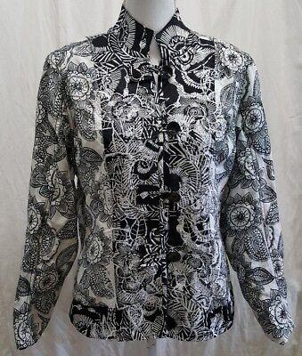 Chicos Asian Floral Jacket Blazer Sz 1 M Silk Blend Black White Long Sleeve FLAW