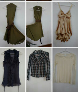 Cute clothing! Green & gold dress, le chateau blouse, lace top