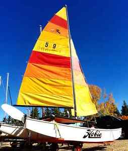 Hobie Cat 16 sailboat with trailer.