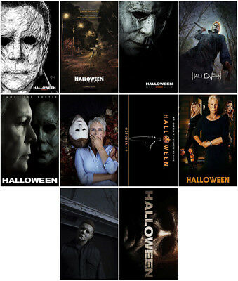 10pcs Halloween Movie 2018 Mirror Surface Card Sticker Promo Poster Sticker HUY