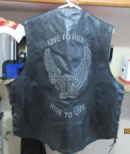 Genuine Leather Motorcycle Vest,  Live to ride  Ride to live.