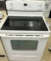 White 30 inch Stove Glass Top Excellent Condition