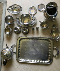 Vintage Silver Tea Set with Additional Accessories