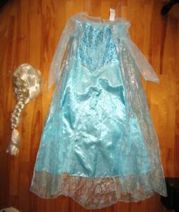 Costume d'Halloween ELSA avec perruque 7-8 ans