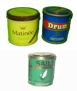 Cannes en tole Drum, Matinée, SAIL Tin Tobacco Tins