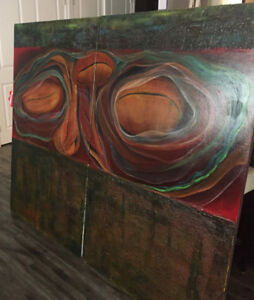 Large two piece artwork on canvas by Canadian artist