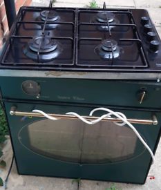 Integral dark green Hygena Classic electric oven & gas hob