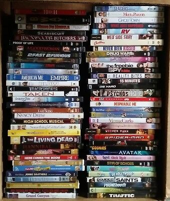 69 DVD MOVIES / WHOLESALE-LOT / 63 USED, 6 NEW / ALL DIFFERENT TYPES OF GENRES