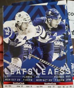 Toronto Maple Leafs vs Calgary Flames Monday Oct 29th, 2018