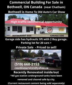 4 Sale Commercial Building in Bothwell near Chatham, Parking Lot