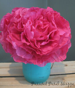 Fuchsia Coffee Filter Peony Arrangement/Rustic Wedding Decor Belleville Belleville Area image 3