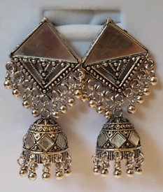Tribal silver jhumkay earings, Silver and black,ethic indian jewellery