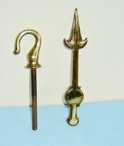 Two Antique Solid Brass Items - Ceiling Hook, Clock Hand