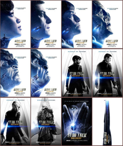12pc Star Trek Discovery 2017 Mirror Surface Card Sticker Promo Card Poster B222