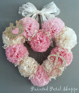 Coffee Filter Princess Monogrammed Baby Girl Wreath/ Nursery Belleville Belleville Area image 1