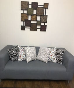 IKEA NAVY/GRAY SOFA: EXCELLENT CONDITION ( + 2 CUSHIONS)