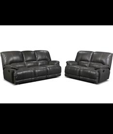 fregoso 3+2 seater grey recliner sofa leather from Wayfair BNIB