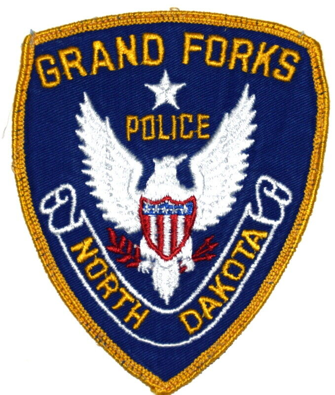 GRAND FORKS NORTH DAKOTA ND Sheriff Police Patch VINTAGE OLD CHEESECLOTH USED ~