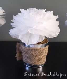 Coffee Filter Peony in Tin Pot/ Wedding Decor/ Home Decor