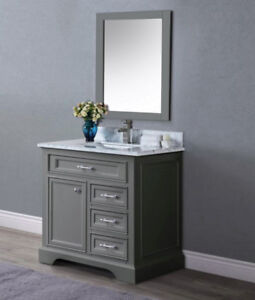 """36"""" classic Grey contemporary vanity set with top and sink"""