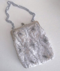 "Silver Beaded ""Flapper Purse"""
