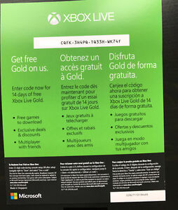 XBOX One Live Gold 14 days Trials