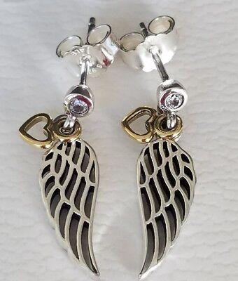 Used, AUTHENTIC PANDORA LOVE & GUIDANCE ANGEL WING & HEART EARRINGS 290583CZ for sale  Las Vegas