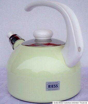 Flötenkessel Wasserkocher Teekessel Floetenkessel Riess Email Kocher Topf 2 l (Tee-topf Für Induktion Herd)
