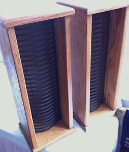 Pair of Quality Oak CD Stands