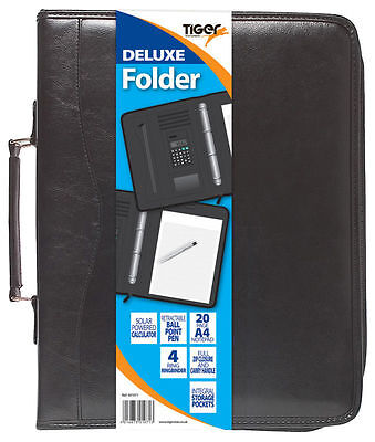 A4 Black Deluxe Executive Business Conference Folder With Calculator Ring -