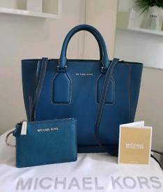 (Jo's post) Michael Kors blue SELBY SATCHEL BAG & FREE PURSE