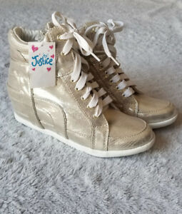 Gold Sparkly Justice High-Top Heeled Sneakers - Girls Size 6