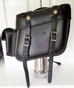 Lockable thick leather saddlebags by Leatherworks