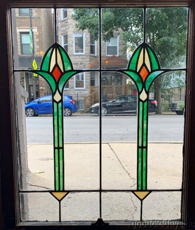 """Nice Antique Stained Leaded Glass Windows 36"""" by 28"""" Circa 1910"""