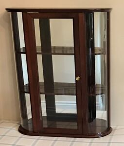 Wall Curio Cabinet, Transitional Style